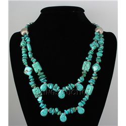 Natural 615.00ctw Turquoise Sterling Silver Necklace