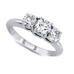 1.50 ctw Round cut Three Stone Diamond Ring, G-H, VS