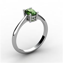 Tourmaline 0.50 ctw Ring 14kt White Gold