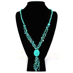 Natural 412.05ctw Turquoise Sterling Silver Necklace
