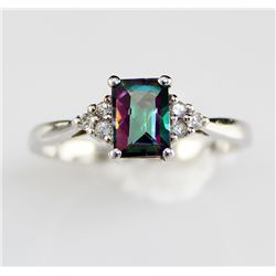 Platinum Sterling 1.2 ctw Mystic Topaz Tanzanite Ring