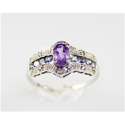 14K Gold 1.65 ctw Amethyst Diamond Ring