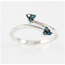 DeBeer' 10K Gold .22 Fancy Blue Diamond Ring