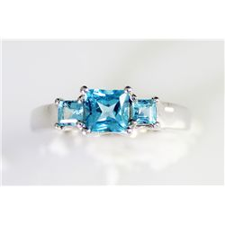 Sterling Platinum 1.24 London Blue Topaz Sterling Ring