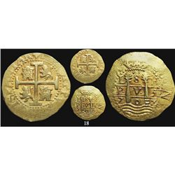 Lima, Peru, cob 8 escudos, 1707H, rare, from the 1715 Fleet.