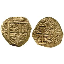 Cartagena, Colombia, cob 2 escudos, assayer not visible (E), mintmark RN to right (1626-29).