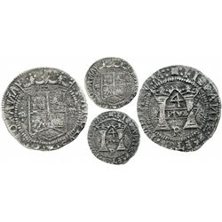 "Mexico City, Mexico, 4 reales, Charles-Joanna, ""Early Series,"" assayer P over erased Latin R at bott"