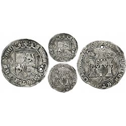 "Mexico City, Mexico, 3 reales, Charles-Joanna, ""Early Series,"" assayer Gothic R at bottom between pi"