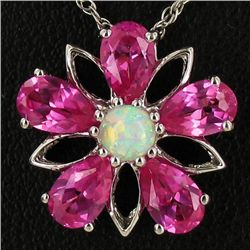 15.5twc Pink Topaz/Lab Opal Sterling Pendant Necklace (JEW-4380)