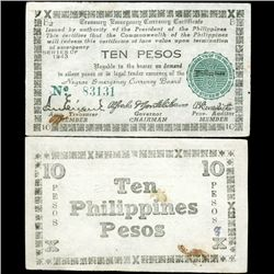 1943 WW2 Guerrilla Rebel Philippines 10P Note Negros (CUR-07288)
