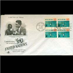 1962 UN First Day 4 Block Postal Cover (STM-2380)