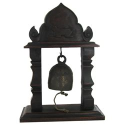 Vintage Thai Temple Bell on Elaborate Teak Stand (DEC-473)
