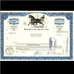 1970s Brandwine Sports Stock Certif Horse Style (COI-3325)