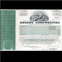 1990s Ronson Stock Certificate Scarce (CUR-06412)