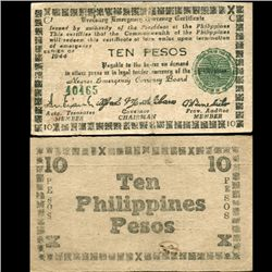 1944 WW2 Guerrilla Rebel Philippines 10P Note Negros (CUR-07287)
