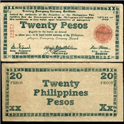 1945 WW2 Guerrilla Rebel Philippines 20P Note Negros (CUR-07307)