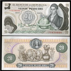 1982 Colombia 20 Pesos Crisp Uncirculated Note (CUR-05589)