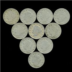 10 US Liberty V Nickel Coin Lot  (COI-454)