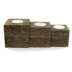 Sugarpalm Wood Candle Holder 3pcs (DEC-710)