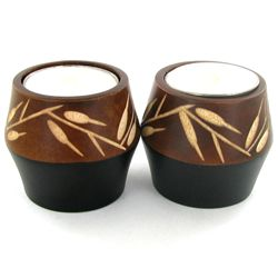Mango Wood Candle Holder Pair (DEC-760)