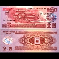 1988 N Korea 5 Won Note Crisp Unc (CUR-06730)