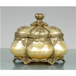 POLY RESIN LIDDED BOX BRUSED WITH GOLD