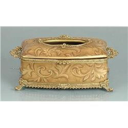 BEIGE SHADED LACQUERED TISSUE BOX ACCENTED W/ BRASS