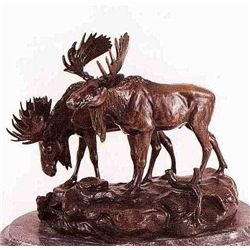 """Moose"" Bronze Sculpture - Barye"