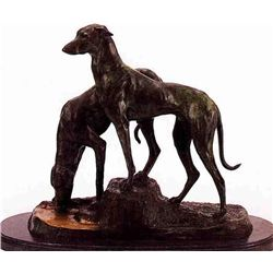 """Double Greyhound"" Bronze Sculpture - Masson"