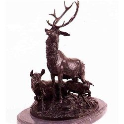 """Hunting Dogs"" Bronze Sculpture - Av.Coupe De Fusil"
