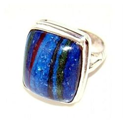 Silver and Rainbow Calsilica Ring