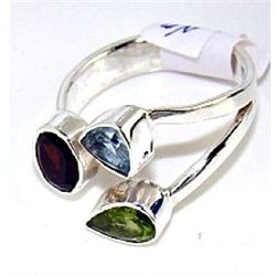 Silver and Mixed Stones Ring