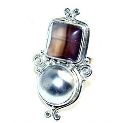 Silver and Botswana Agate & Pearl Ring