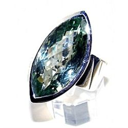 Silver and Green Amethyst Ring