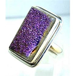Silver and Titaniuim Drusy Ring