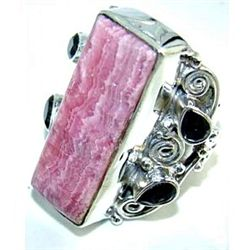 Silver and Rhodochrosite & Garnet Ring