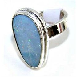 Silver and Fire Opal Ring