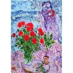 "Marc Chagall ""Red Bouquet With Lovers"""