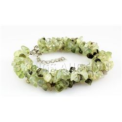 261.72CTW 7in. GREEN CHARTREUSE CHIPPED BRACELET METAL