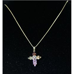 Sterling Gold Multistone Crucifix-Unique
