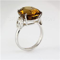 24.28CTW Big Stone Yellow Topaz Silver Ring