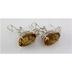 34.52CTW Big Stone Yellow Topaz Silver Earring