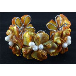 352.02CTW CHUNKY AMBER MOTHER OF PEARL BRACELET PHILIPP