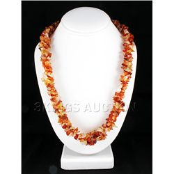 642.50CTW 23in. CARNELIAN CHIPPED STONE NECKLACE METAL