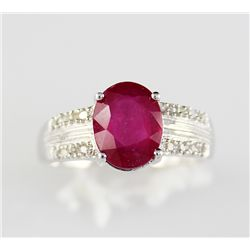 1.06 ctw Ruby .20 ctw Diamond 10K Ring