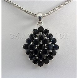 Cluster Sapphire 21.20CTW Sterling Silver Pendant
