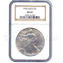 Certified Uncirculated Silver Eagle 1998 MS69
