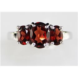 Sterling Platinum 1.77 ctw Garnet Ring