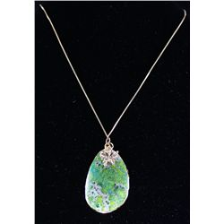Green Opaline Necklace with Butterfly Necklace
