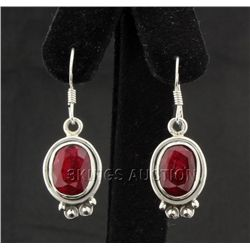 Sterling Silver 33.00ctw Oval Ruby Beryl Earring